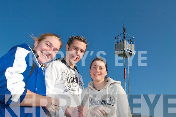 UP, UP AND AWAY: Students who had just finished their charity bungee jump were still on a high on Monday morning in the ITT South Campus. From l-r: Ciara O'Sullivan, Shane Hennessy and Bernie McGuire.   Copyright Kerry's Eye 2008