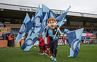 Bodger the Mascot with flag bearers during the Sky Bet League 2 match between Wycombe Wanderers and Barnet at Adams Park, High Wycombe, England on 16 April 2016. Photo by Andy Rowland.