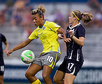 Nikki Marshall (17) of the Washington Freedom tries to keep the ball away from Lianne Sanderson (10) of the Philadelphia Independence during their game at the Maryland SoccerPlex in Boyds, Maryland.  The Washington Freedom defeated the Philadelphia Independence, 2-0.