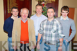 Derek Twiss, Frank Twiss, Mike Dennehy, Ian Twiss and Donal Dennehy pictured at the Milltown/Castlemaine medal presentations in the Killorglin Golf Club on Thursday night.