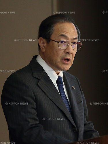 Toshiba Corp President and CEO Masashi Muromachi attends Toshiba consolidated results for the first quarter (April-June) of fiscal year at Toshiba head office, Tokyo Japan on 14 Sep 2015. (Photo by Motoo Naka/AFLO)