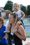 Christine Bresky, wife of Wake Forest Demon Deacons head coach Tony Bresky, and her daughter cheer for the Demon Deacons during their match against the Ohio State Buckeyes during the 2018 NCAA Men's Tennis Championship at the Wake Forest Tennis Center on May 22, 2018 in Winston-Salem, North Carolina.  The Demon Deacons defeated the Buckeyes 4-2. (Brian Westerholt/Sports On Film)