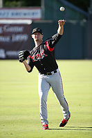 Eric Lauer (18) of the Lake Elsinore Storm warms up before pitching against the Inland Empire 66ers at San Manuel Stadium on April 29, 2017 in San Bernardino, California. Inland Empire defeated Lake Elsinore, 3-1. (Larry Goren/Four Seam Images)