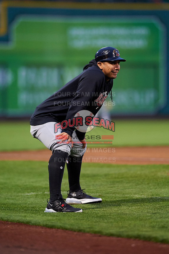Quad Cities River Bandits manager Ray Hernandez (12) during a Midwest League game against the Fort Wayne TinCaps at Parkview Field on May 3, 2019 in Fort Wayne, Indiana. Quad Cities defeated Fort Wayne 4-3. (Zachary Lucy/Four Seam Images)