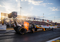 Sep 29, 2017; Madison , IL, USA; NHRA top fuel driver Tony Schumacher during qualifying for the Midwest Nationals at Gateway Motorsports Park. Mandatory Credit: Mark J. Rebilas-USA TODAY Sports