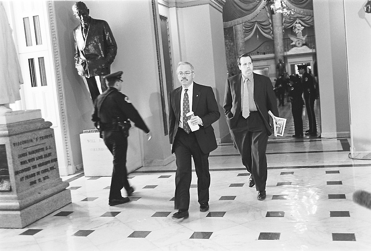 Rep. Bob Barr walks towards the Sen. Chamber during the impeachment process....Maureen Keating/@Roll Call