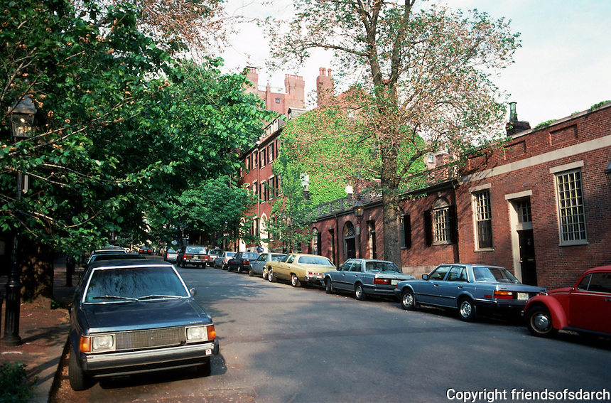 Boston:  Mt. Vernon St.  Across the street , only one-story houses were permitted along this section to afford sunlight to the more affluent residents of north side.  Photo '88.