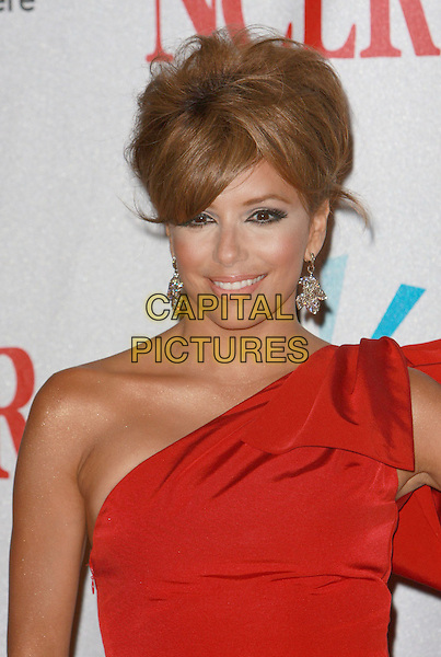 "EVA LONGORIA PARKER .NCLR ""2008 ALMA Awards"" Press Room held at the Pasadena Civic Auditorium, Pasadena, California, USA,.17 August 2008..portrait headshot make-up lipstick eyeliner red one shoulder hair up do earrings .CAP/ADM/CH.©Charles Harris/Admedia/Capital PIctures"