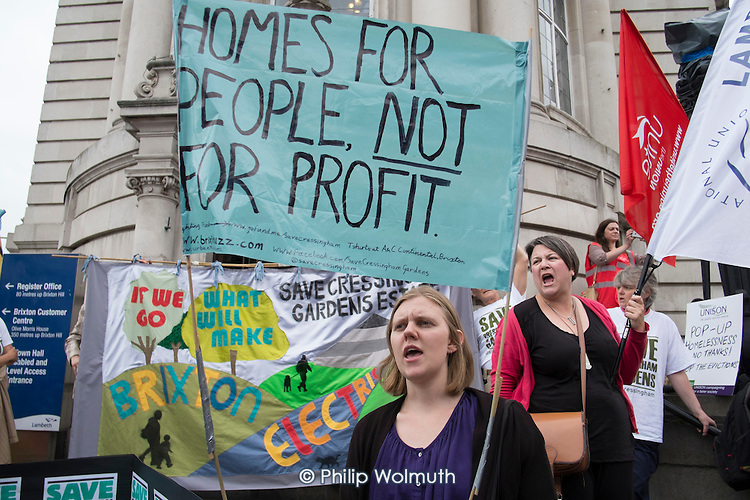Homes For People Not For Profit.  Residents of Cressingham Gardens Estate in Brixton, London, demonstrate outside Lambeth Town Hall over council plans to demolish their homes and build new housing which they believe will be unaffordable for existing tenants.