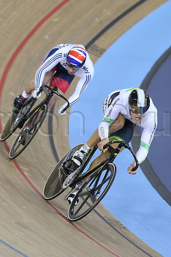 05.03.2016. Lee Valley Velo Centre, Lnodn England. UCI Track Cycling World Championships Mens Individual Sprint Final.  KENNY Jason (GBR) sits behind GLAETZER Matthew (AUS)