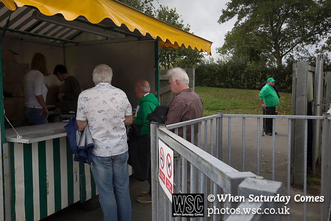Guernsey 0 Corinthian-Casuals 1, 10/09/2017. Footes Lane, Isthmian League Division One. Home fans paying at the turnstiles as Guernsey take on Corinthian-Casuals in a Isthmian League Division One South match at Footes Lane. Formed in 2011, Guernsey FC are a community club located in St. Peter Port on the island of Guernsey and were promoted to the Isthmian League Division One South in 2013. The visitors from Kingston upon Thames won the fixture by 1-0, watched by a crowd of 614 spectators. Photo by Colin McPherson.