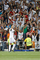 29.08.2012 Spain Supercopa, Real Madrid won (2-1) at Barcelona and was presented on goalaverage to win its ninth Supercopa of Spain) at Santiago Bernabeu stadium. The picture show Cristiano Ronaldo (Portuguese forward of Real Madrid) celebrating his team's goal