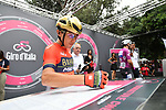 Domenico Pozzovivo (ITA) Bahrain-Merida at sign on before the start of Stage 21 of the 2018 Giro d'Italia, running 115km around the centre of Rome, Italy. 27th May 2018.<br /> Picture: LaPresse/Massimo Paolone | Cyclefile<br /> <br /> <br /> All photos usage must carry mandatory copyright credit (&copy; Cyclefile | LaPresse/Massimo Paolone)
