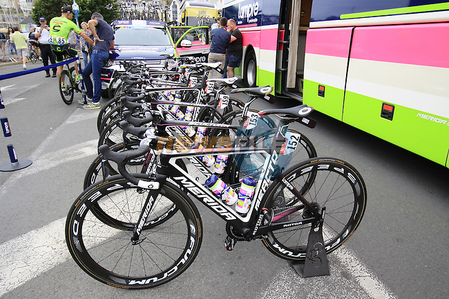 Lampre-Merida team bikes at the team bus before the start of Stage 3 of the 2016 Tour de France, running 223.5km from Granville to Angers, France . 4th July 2016.<br /> Picture: Eoin Clarke | Newsfile<br /> <br /> <br /> All photos usage must carry mandatory copyright credit (&copy; Newsfile | Eoin Clarke)