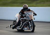 Jun. 15, 2012; Bristol, TN, USA: NHRA top fuel Harley motorcycle rider Devin XXXX during qualifying for the Thunder Valley Nationals at Bristol Dragway. Mandatory Credit: Mark J. Rebilas-