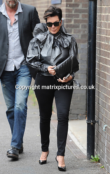 NON EXCLUSIVE PICTURE: PALACE LEE / MATRIXPICTURES.CO.UK<br /> PLEASE CREDIT ALL USES<br /> <br /> WORLD RIGHTS<br /> <br /> American reality television personality Kris Jenner is pictured out and about in London.<br /> <br /> The 59 year old looks chic wearing black skinny jeans. <br />  <br /> JULY 12th 2015<br /> <br /> REF: LTN 152197