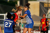 Rochester, NY - Friday June 24, 2016: Boston Breakers midfielder Angela Salem (26), Western New York Flash midfielder Samantha Mewis (5) during a regular season National Women's Soccer League (NWSL) match between the Western New York Flash and the Boston Breakers at Rochester Rhinos Stadium.
