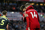 Jordan Henderson (r) of Liverpool celebrates with Roberto Firmino after scoring the second goal of the game during the Premier League match at Anfield, Liverpool. Picture date: 1st February 2020. Picture credit should read: James Wilson/Sportimage
