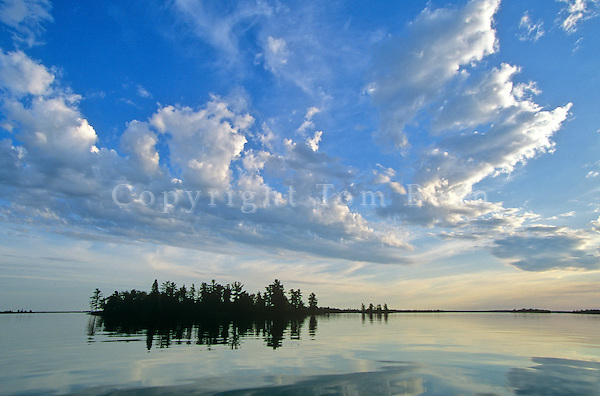 Sunset over island in Kebetogama Lake, near La Bonty's Point, Voyageurs National Park, Minnesota, AGPix_0539..