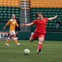 Brittany Bock (21) of the Western New York Flash controls the ball vs the Atlanta Beat  during the second half of their WPS match at Sahlen's Stadium in Rochester, NY May 01, 2011. New York 3, Atlanta 0.