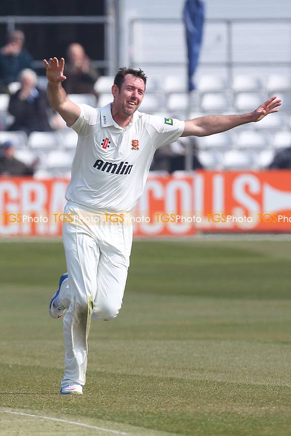 David Masters of Essex celebrates the wicket of Michael Klinger - Essex CCC vs Gloucestershire CCC - LV County Championship Division Two Cricket at the Essex County Ground, Chelmsford - 10/04/13 - MANDATORY CREDIT: Gavin Ellis/TGSPHOTO - Self billing applies where appropriate - 0845 094 6026 - contact@tgsphoto.co.uk - NO UNPAID USE.