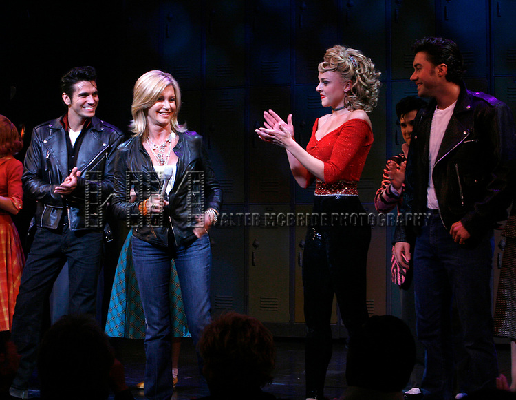 Olivia Newton-John is headed back to Rydell High to promote Breast Cancer Awareness after the Curtain Call for GREASE at the Brooks Atkinsoon Yheatre in New York City. <br />October 7, 2008<br />( pictured: Olivia Newton John, Derek Keeling, Ashley Spencer, Ace Young )