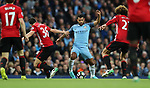 Sergio Aguero of Manchester City is surrounded during the English Premier League match at The Etihad Stadium, Manchester. Picture date: April 27th, 2016. Photo credit should read: Lynne Cameron/Sportimage