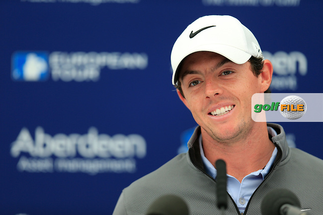 Rory McIlroy (NIR  during an  interview at the Aberdeen Asset Managament Scottish Open 2014, Royal Aberdeen Golf Club, Aberdeen, Scotland.<br /> Picture: Fran Caffrey www.golffile.ie