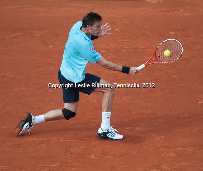Nicolas Mahut loses at Roland Garros in Paris, France on June 1, 2012