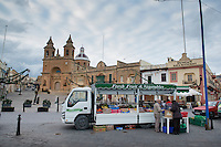 Malta, 29 December 2014<br /> <br /> In the fishing village of Marsaxlokk, south east of Valetta. Rolling greengrocer iat the village square.<br /> <br /> Photo Kees Metselaar