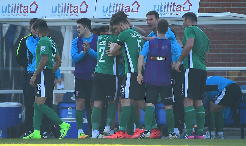 Lincoln City's Sean Raggett celebrates scoring the opening goal with the bench<br /> <br /> Photographer Andrew Vaughan/CameraSport<br /> <br /> Vanarama National League - Eastleigh v Lincoln City - Saturday 8th April 2017 - Silverlake Stadium - Eastleigh<br /> <br /> World Copyright &copy; 2017 CameraSport. All rights reserved. 43 Linden Ave. Countesthorpe. Leicester. England. LE8 5PG - Tel: +44 (0) 116 277 4147 - admin@camerasport.com - www.camerasport.com