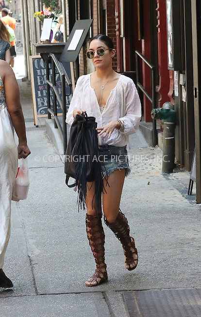 WWW.ACEPIXS.COM<br /> <br /> May 31 2015, New York City<br /> <br /> Actress Vanessa Hudgens wears tiny shorts and gladiator sandals as she walks in Greenwich Village on May 31 2015 in New York City<br /> <br /> By Line: Zelig Shaul/ACE Pictures<br /> <br /> <br /> ACE Pictures, Inc.<br /> tel: 646 769 0430<br /> Email: info@acepixs.com<br /> www.acepixs.com