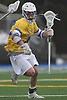 Ryan Tierney #43 of Hofstra University carries downfield during an NCAA men's lacrosse game against Monmouth at Shuart Stadium in Hempstead, NY on Wednesday, March 14, 2018. He scored three goals in Hofstra's 7-6 win.