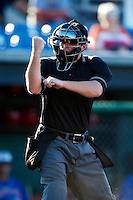 Umpire Jeff Andrews during a NY-Penn League game between the Auburn Doubledays and Tri-City ValleyCats at Falcon Park on July 29, 2012 in Auburn, New York.  Tri-City defeated Auburn 9-4.  (Mike Janes/Four Seam Images)