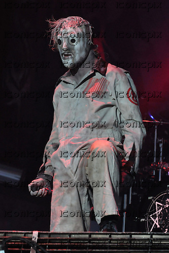 Slipknot - vocalist Corey Taylor (#8) - performing live on day One on the Main Stage at Download Festival Donington Park UK - 14 June 2013.  Photo credit: Graham Finney/Music Pics Ltd/IconicPix