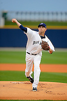 Pensacola Blue Wahoos pitcher Daniel Renken #29 during a game against the Jacksonville Suns on April 15, 2013 at Pensacola Bayfront Stadium in Pensacola, Florida.  Jacksonville defeated Pensacola 1-0 in 11 innings.  (Mike Janes/Four Seam Images)