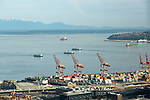 Port of Seattle and ferry boats on Elliott Bay in Seattle