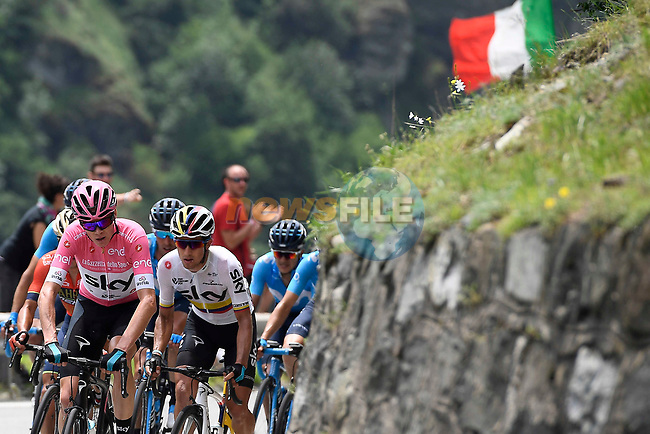 New race leader Chris Froome (GBR) and Sergio Luis Henao (COL) Team Sky climb during Stage 20 of the 2018 Giro d'Italia, running 214km from Susa to Cervinia is the final mountain stage, with the last three climbs of Giro 101 deciding the GC of the Corsa Rosa, Italy. 26th May 2018.<br /> Picture: LaPresse/Fabio Ferrari | Cyclefile<br /> <br /> <br /> All photos usage must carry mandatory copyright credit (© Cyclefile | LaPresse/Fabio Ferrari)