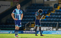 Sido Jombati of Wycombe Wanderers covers his face as Coventry score a fourth goal late on during the The Checkatrade Trophy Southern Group D match between Wycombe Wanderers and Coventry City at Adams Park, High Wycombe, England on 9 November 2016. Photo by Andy Rowland.
