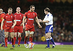 Wales captain Sam Warburton in discussion with Referee Alain Rolland.<br /> RBS 6 Nations 2014<br /> Wales v France<br /> Millennium Stadium<br /> 21.02.14<br /> <br /> &copy;Steve Pope-SPORTINGWALES