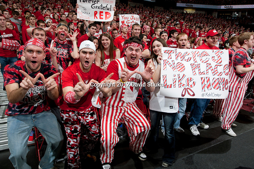 Wisconsin Badgers fans cheer during a Big Ten Conference NCAA college basketball game against the Illinois Fighting Illini on Sunday, March 4, 2012 in Madison, Wisconsin. The Badgers won 70-56. (Photo by David Stluka)