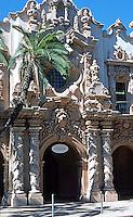 San Diego: Casa del Prado, Balboa Park. Architect Bertram Goodhue. Churriqueresque style. Photo '78.