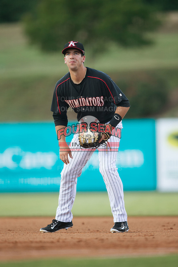 Kannapolis Intimidators first baseman John Ziznewski (5) on defense against the Greensboro Grasshoppers at CMC-Northeast Stadium on June 11, 2015 in Kannapolis, North Carolina.  The Intimidators defeated the Grasshoppers 7-6.  (Brian Westerholt/Four Seam Images)