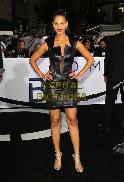 "Denise Vasi.""Oblivion"" Los Angeles Premiere held at the Dolby Theatre, Hollywood, California, USA..April 10th, 2013.full length black leather dress hands on hips silver sandals shoes .CAP/ADM/KB.©Kevan Brooks/AdMedia/Capital Pictures."