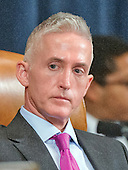 United States Representative Trey Gowdy (Republican of South Carolina), Chairman, US House Select Committee on Benghazi, listens to the testimony of former US Secretary of State Hillary Rodham Clinton, a candidate for the 2016 Democratic Party nomination for President of the United States, as she testifies before the committee on Capitol Hill in Washington, DC on Thursday, October 22, 2015.<br /> Credit: Ron Sachs / CNP<br /> (RESTRICTION: NO New York or New Jersey Newspapers or newspapers within a 75 mile radius of New York City)