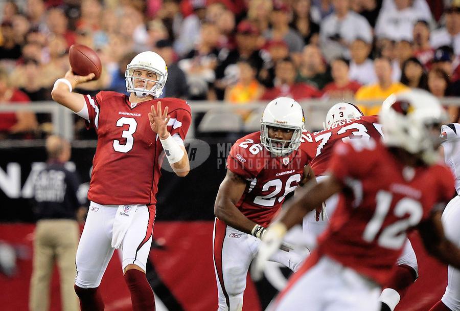Aug. 14, 2010; Glendale, AZ, USA; Arizona Cardinals quarterback (3) Derek Anderson against the Houston Texans at University of Phoenix Stadium. Arizona defeated Houston 19-16. Mandatory Credit: Mark J. Rebilas-