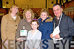 Julie O'Sullivan, Maureen Fleming, Mary Anne Fleming, Abbie O'Sullivan and Fr Francis Nolan,  pictured at St Johns bazaar, held in the KDYS on Saturday evening.