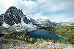 The Canadian Rockies form a backdrop for Cerulean Lake, Mt. Assiniboine Provincial Park, British Columbia, Canada