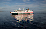 Hurtigruten Coastal Express ferry ship 'Richard With' at sea, Lofoten Islands, Nordland, Norway