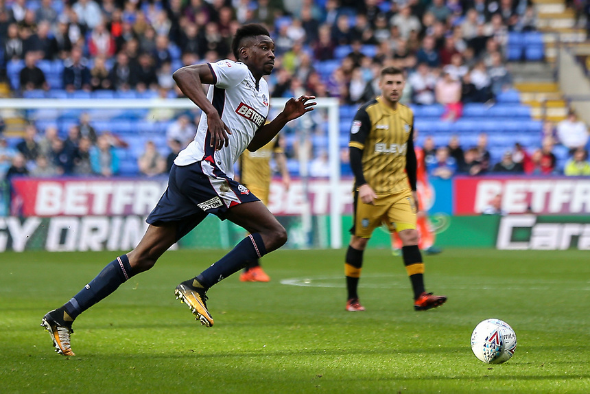 Bolton Wanderers'  Sammy Ameobi leads another attack<br /> <br /> Photographer Andrew Kearns/CameraSport<br /> <br /> The EFL Sky Bet Championship - Bolton Wanderers v Sheffield Wednesday - Saturday 14th October 2017 - Macron Stadium - Bolton<br /> <br /> World Copyright &copy; 2017 CameraSport. All rights reserved. 43 Linden Ave. Countesthorpe. Leicester. England. LE8 5PG - Tel: +44 (0) 116 277 4147 - admin@camerasport.com - www.camerasport.com